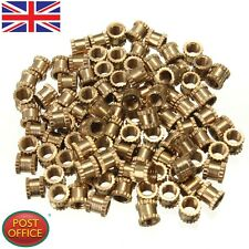 100pcs H62 in Ottone Zigrinato Dadi M3*4mm (L) - 4mm (DO) Dadi Filettati Metrica/inserisci Round