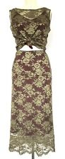 Vintage 1990s Khaki Green Lace & Burgundy Top & Skirt Set 10-12