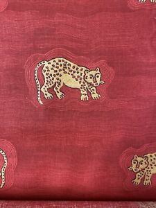 Red Cheetah Cat Print On Cotton Fabric By The Yard