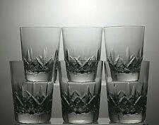 "STUART CRYSTAL""GLENGARRY"" CUT WHISKY 10 OZ TUMBLERS GLASSES SET OF 6 - 4"" TALL"