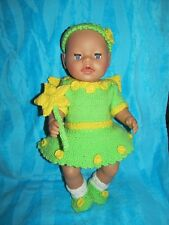KNITTING PATTERN Garden fairy in tinkerbell green fits 15 - 18 in doll baby born