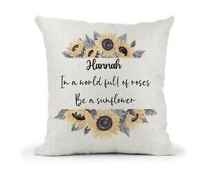 Personalised Cushion Gift Sunflowers Inspirational Quote Friend Birthday Mum Nan
