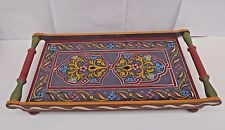 UNIQUE HAND PAINTED MULTI COLOURED  MOROCCAN SERVING TRAY *