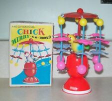 Rare Vintage 1950-60s Mechanical Chick Merry-Go-Round W/Box ~ Made In Japan-Nmib