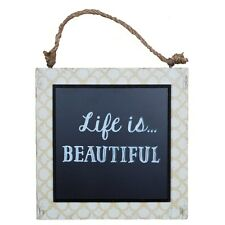Sass & Belle Life Is Beautiful Plaque Boho Wall Hanging Distressed shabby chic