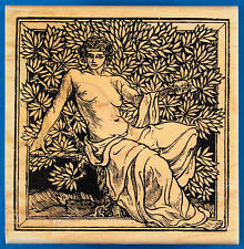 Rare Woman in Olive Tree Rubber Stamp - Greek Mythology, Goddess, Partially Nude