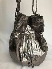 Beirn Snakeskin Drawstring Bucket Bag Pewter New Without Tags REG $498 Now $48