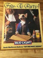 "14.5"" x 17.5"" BUD LIGHT SPUDS MACKENZIE ""LET THE PARTY BEGIN"" VINTAGE POSTER"