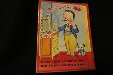 Vintage Vanity Dresser & Dapper Mustache Man Valentine Card 1940s by: doubl-glo