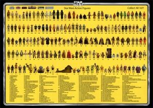 Vintage Star Wars Poster 167 Action Figures Checklist Kenner Palitoy Print A3