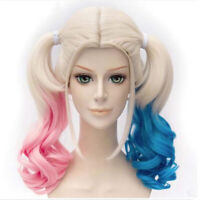 Suicide Squad Harley Quinn  Blue&Pink Wig Gradient Hair Fancy Cosplay Party Wigs