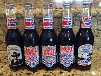 Set of 5 RARE NASCAR RICHARD PETTY PEPSI LONGNECK COMMEMORATIVE FULL BOTTLES