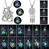 Magic Luminous Cats Lotus Glow in The Dark Locket Pendant Necklace Women Men Hot