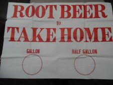 c.1959 ROOT BEER TO TAKE HOME Drive-In Restaurant Poster Paper Sign Vintage BIG