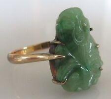 Vintage 14ct gold jade Buddha ring size N 1/2 (2.7g)