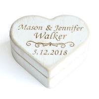 Heart Ring Box Rustic Wedding Ring Bearer Box, Personalized Wedding Ring Box