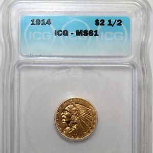 1914 $2.5 Dollar Gold Indian Head Quarter Eagle Coin ICG MS61