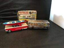 MRK - Japanese Vacation Trio set- Friction car/ boat and house trailer/ box lid.