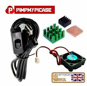 5v Fan Black Green and copper Heat sink with Black USB On Off Power Raspberry Pi