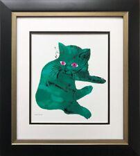 "Andy Warhol "" Green Cat"" 1954 CUSTOM FRAMED Pop Art  NEW Feline Psychedelic"