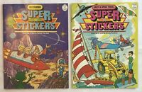 2 Super Stickers Activity Books Outer Space & Earth Space Travel 1986 Vintage
