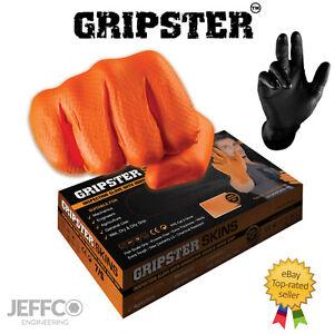 Orange Nitrile Gloves Gripster Skins Heavy Duty Grip Latex Free L M XL