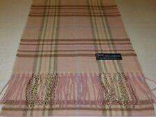 100% Cashmere Scarf Pink Blue Brown Scotland Wool Check Plaid Men Women Wrap K68