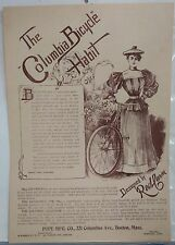 Antique Vintage COLUMBIA Bicycle Women Clothing Habit Advertising Red Fern