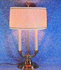 "Vtg. STIFFEL Brass 21"" Bouillotte  2 Light Desk / Table Lamp, Orig Pleated Shade"