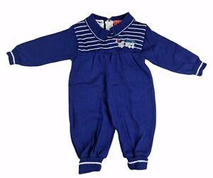 Vintage Baby Blue Body Suit Zip Acrylic Wool Knit Romper Truck Size 1 One Piece