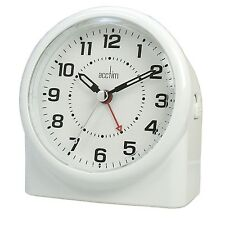 Acctim Smartlite White Central Quiet Seconds Glow Silent Sweep Hand Alarm Clock