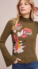 Anthropologie Knitted And Knotted Lileas Bell-sleeve Turtleneck Sweater Intarsia