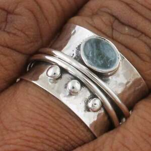 Aquamarine Natural Gemstone Ring, Solid 925 Sterling Silver Spinner Ring,