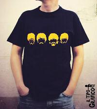 T-shirt The BEATLES - Maglia Cotone 100% NERO Vintage British Pop John Paul