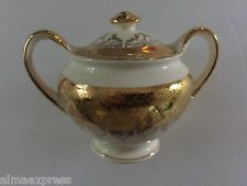 Homer Laughlin China HLC2304 Eggshell Nautilus Gold, Flowers - LIDDED SUGAR BOWL