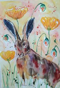 "Fridge Magnet,Hare Posing among Poppies large fridge magnet   4.25"" by 5.5"""
