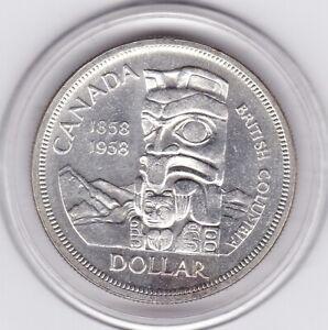 Sharp  BC  Canada  1958  Large  Silver   Dollar   (80%)   Coin