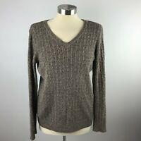 Karen Scott Womens M Brown Crewneck Sweater