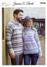 cd0f75a370 James C Brett JB369 Knitting Pattern Ladies Mens Sweaters in Marble Chunky