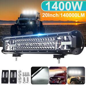 "20"" Inch 1400W LED Offroad Work Light Bar Flood Spot Combo Beam Car Truck   W"