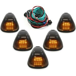 5 Smoke Cab Marker Light w/ Amber LED Assembly & Wiring Fits 99-16 Ford 250-550