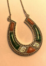 Sterling Silver Horseshoe Pendant Necklace With Malachite & Agate