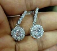 1.50Ct Round-Cut Brilliant Diamond Halo Drop Dangle Earring 14k White Gold