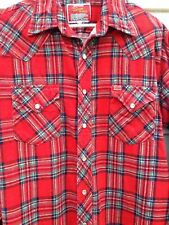 Vintage Ely 'Wagon Boss' Red Plaid Flannel Shirt with Pearl Buttons -Large