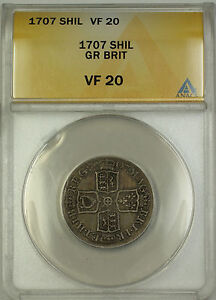 1707 England Great Britain Silver Shilling Coin Anne ANACS VF-20