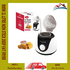 NEW 900W 1L NON STICK DEEP FAT FRYER FRY OIL LID KITCHEN COMPACT CHIP FISH FRY