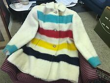Vintage 50s Hudsons Bay Point Blanket Women's Large Hooded Trapeze Coat Heavy