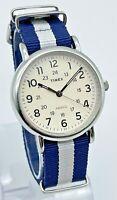 Men's TIMEX Weekender Classic Silver Tone Watch, Blue/White Band, Analog, Quartz