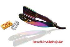 Barber Cut Throat Stainless Steel Straight Razor, Titanium Rainbow Color+Blades