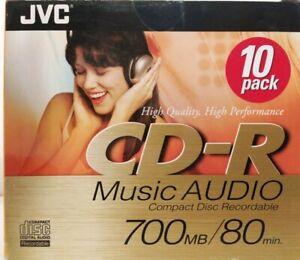 JVC CD-R80 CD-RA80DE Slim line 10 Pack Digital Audio Music Blank CDR Discs - NEW